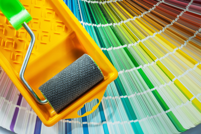 Paint roller tray color sampler for residential project